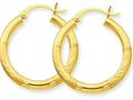 10k Satin and Bright-cut 3mm Round Hoop Earrings