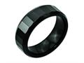 Chisel Ceramic Beveled Edge Black Faceted 8mm Polished Weeding Band