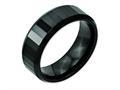 Chisel Ceramic Black Faceted Beveled Edge 8mm Polished Weeding Band