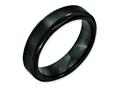 Chisel Black Ceramic Ridged Edge 6mm Brushed And Polished Weeding Band