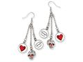 Ed Hardy Dangling Hearts and Skull Painted Earrings