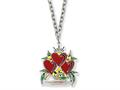 Ed Hardy Triple Heart Love Painted Necklace