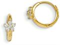 "14k Madi K CZ Children""s Flower Hinged Hoop Earrings"