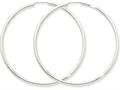 14k White Gold Polished Endless 2mm Hoop Earrings