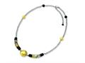 Sterling Silver Murano Glass Bead and Onyx Necklace