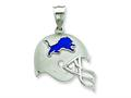 Sterling Silver Detroit Lions Enameled Helmet Charm