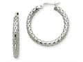 14k White Gold 3.5mm Mesh Round Hoop Earrings