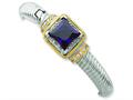 Sterling Silver and Gold-plated Purple Cubic Zirconia Hinged Cuff Bangle