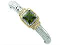 Sterling Silver and Gold-plated Green Cubic Zirconia Hinged Cuff Bangle