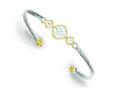 Sterling Silver Vermeil Cubic Zirconia Rope Design Bangle