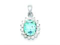 Sterling Silver Blue Topaz and Cubic Zirconia Pendant - Chain Included