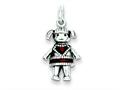 Sterling Silver Antiqued Enameled Red Girl Charm