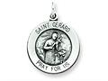 Sterling Silver Antiqued Saint Gerard Medal Pendant - Chain Included