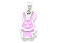 Sterling Silver Resin Pink Bunny Pendant - Chain Included