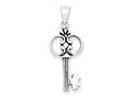 Sterling Silver Antiqued Key Pendant - Chain Included