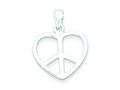 Sterling Silver Peace Sign Heart Pendant - Chain Included