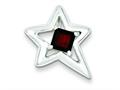 Sterling Silver Polished Star Garnet Pendant - Chain Included