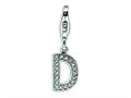 Amore LaVita™ Sterling Silver CZ Initial Letter D w/Lobster Clasp Bracelet Charm