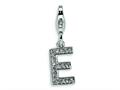 Amore LaVita™ Sterling Silver CZ Initial Letter E w/Lobster Clasp Bracelet Charm