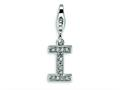 Amore LaVita™ Sterling Silver CZ Initial Letter I w/Lobster Clasp Bracelet Charm