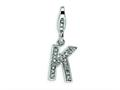 Amore LaVita™ Sterling Silver CZ Initial Letter K w/Lobster Clasp Bracelet Charm