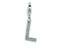 Amore LaVita™ Sterling Silver CZ Initial Letter L w/Lobster Clasp Bracelet Charm
