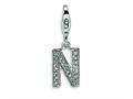 Amore LaVita™ Sterling Silver CZ Initial Letter N w/Lobster Clasp Bracelet Charm