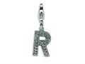 Amore LaVita™ Sterling Silver CZ Initial Letter R w/Lobster Clasp Bracelet Charm