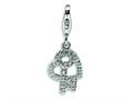 Amore LaVita™ Sterling Silver CZ Heart and Key w/Lobster Clasp Bracelet Charm