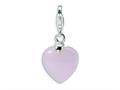 Amore LaVita™ Sterling Silver Rose Quartz Heart w/Lobster Clasp Bracelet Charm