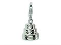 Amore LaVita™ Sterling Silver 3-D Wedding Cake w/Lobster Clasp Bracelet Charm