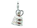 Amore LaVita™ Sterling Silver 3-D Enameled Wedding Cake w/Lobster Clasp Bracelet Charm