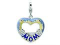 Amore LaVita™ Sterling Silver 2-D Enameled Blue Mom Photo w/Lobster Clasp Charm (Can insert photo) for Charm Bracelet