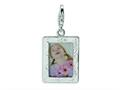 Amore LaVita™ Sterling Silver Polished Picture Frame w/Lobster Clasp Charm (Can insert photo) for Charm Bracelet