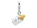 Amore LaVita™ Sterling Silver 3-D Enameled Baby Bottle w/Lobster Clasp Bracelet Charm