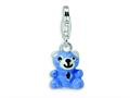 Amore LaVita™ Sterling Silver Blue and Enamel Teddy Bear w/Lobster Clasp Bracelet Charm