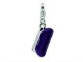 Amore LaVita™ Sterling Silver 3-D Purple Enameled Clutch Purse w/Lobster Clasp Bracelet Charm