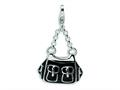 Amore LaVita™ Sterling Silver 3-D Enameled Black Handbag w/Lobster Clasp Charm for Charm Bracelet