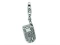 Amore LaVita™ Sterling Silver Flip Cell Phone CZ w/Lobster Clasp Charm (Moveable) for Charm Bracelet