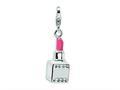 Amore LaVita™ Sterling Silver 3-D Enameled Swarovski Crystal Pink Lipstick w/Lobster Clasp for Charm Bracelet
