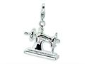 Amore LaVita™ Sterling Silver 3-D Enameled Sewing Machine w/Lobster Clasp Charm for Charm Bracelet