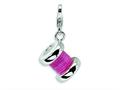 Amore LaVita™ Sterling Silver 3-D Enameled Pink Spoll of Thread w/Lobster Clasp Charm for Charm Bracelet