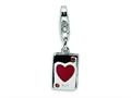 Amore LaVita™ Sterling Silver CZ and Enameled Heart Card w/Lobster Clasp Bracelet Charm