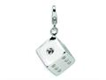 Amore LaVita™ Sterling Silver 3-D Swarovski Crystal Die w/Lobster Clasp Bracelet Charm