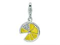 Amore LaVita™ Sterling Silver 3-D Yellow Enameled Lemon Wedge w/Lobster Clasp Bracelet Charm