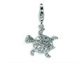 Amore LaVita™ Sterling Silver CZ Sea Turtle w/Lobster Clasp Bracelet Charm