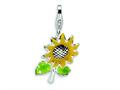 Amore LaVita™ Sterling Silver 3-D Enameled Sunflower w/Lobster Clasp Bracelet Charm