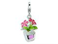 Amore LaVita Sterling Silver 3-D Enameled Potted Flowers w/Lobster Clasp Charm for Charm Bracelet