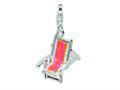 Amore LaVita™ Sterling Silver Enamel Beach Chair w/Lobster Clasp Bracelet Charm