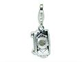 Amore LaVita™ Sterling Silver Polished Moveable Camera w/Lobster Clasp Charm (Moveable) for Charm Bracelet